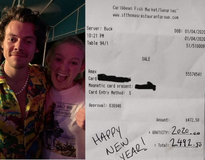 Adele i Harry Styles zostawili w restauracji napiwek w wysokości 2020 dolarów (8364 zł)